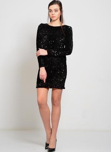 Motel Rocks Payetli Mini Abiye Elbise Siyah